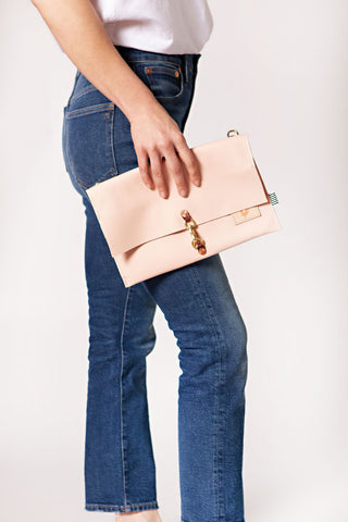 Blush Leather Foldover Clutch & Crossbody