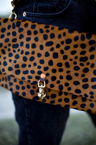 Cheetah Hair on Hide Leather Foldover Clutch & Crossbody