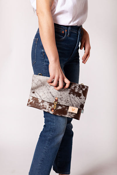 Hair on Hide Leather Foldover Clutch & Crossbody