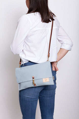 Light Blue Leather Foldover Clutch & Crossbody
