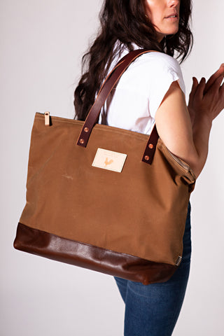 Field Tan Wax Canvas Adventure Tote