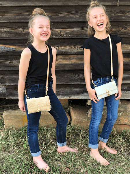 Limited Edition* Little Girls Sand Hide Hair Clutch & Crossbody