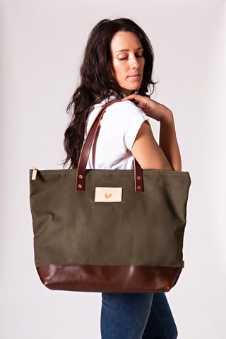 Olive Wax Canvas Adventure Tote