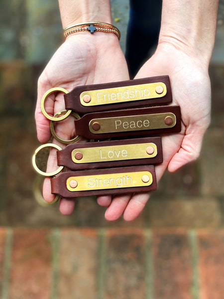 PEACE Leather Key Fob and Engraved Brass