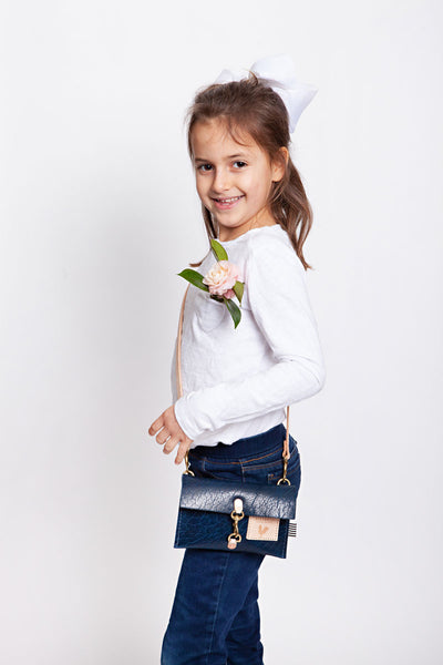 Little Girl's Buffalo Blue Leather Clutch & Crossbody