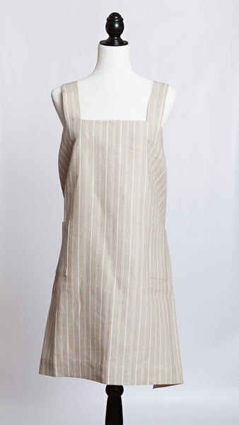 Molly Morris Designs Natural/White Stripe Apron
