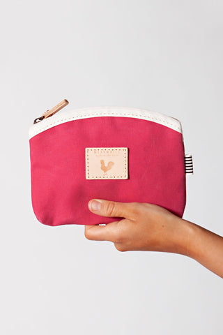 Pink Waxed Canvas Makeup Bag