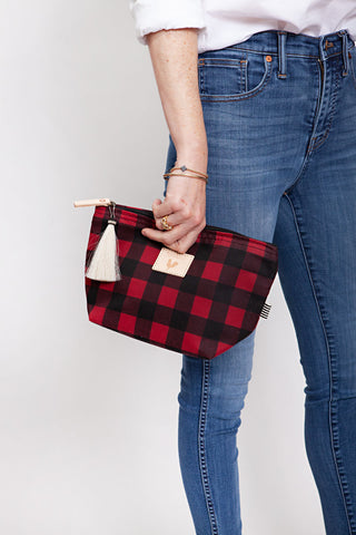 Buffalo Check Waxed Canvas Pouch