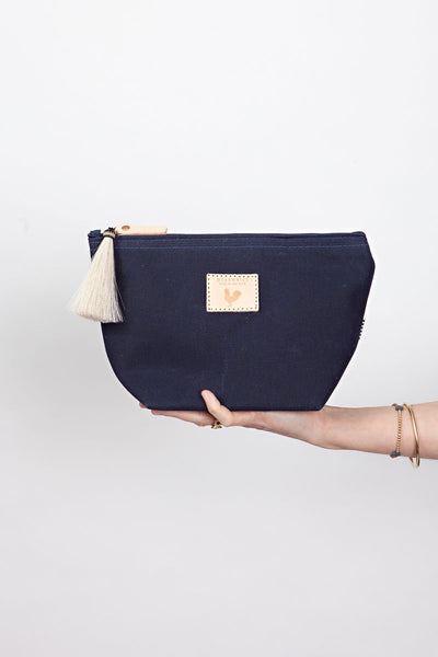 Navy Waxed Canvas Pouch