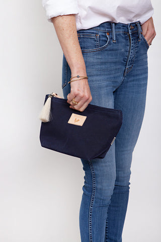 Navy Wax Canvas Pouch
