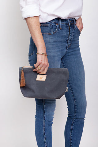 Slate Waxed Canvas Pouch