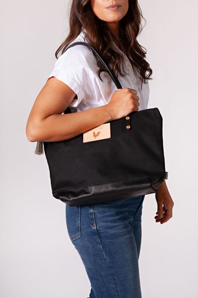 Black Wax Canvas Shoulder Bag