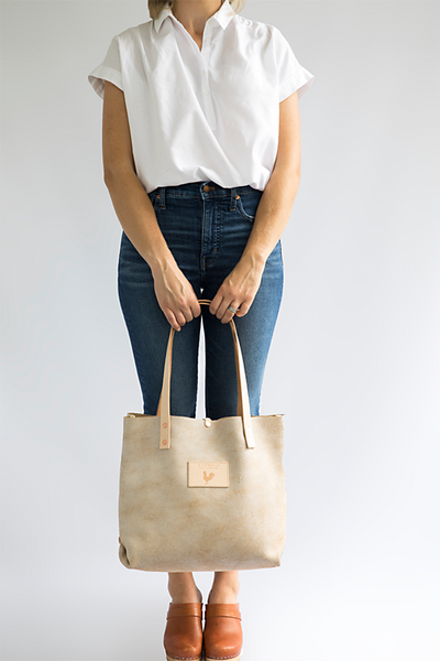 Limited Edition Birch White Leather Shoulder Bag