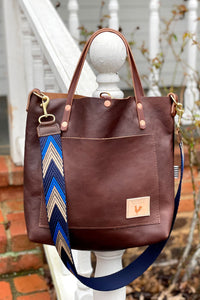 Limited Edition* Mocha Leather Small Tote With Webbing Strap