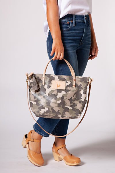 Stone Camouflage Leather Handtote & Crossbody