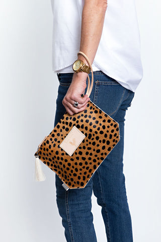 Cheetah Hair on Hide Wristlet