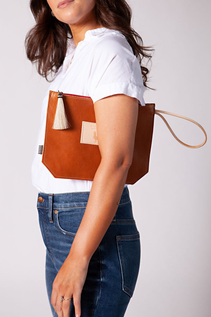 Saddle Leather Wristlet with Red Zipper