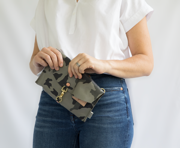 Black Camouflage Leather Envelope Clutch & Crossbody