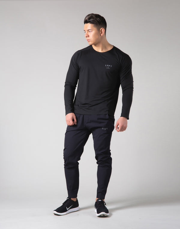 2Way Stretch Seamless Long Sleeve Tee - Black