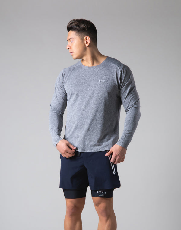 2Way Stretch Seamless Long Sleeve Tee - Grey
