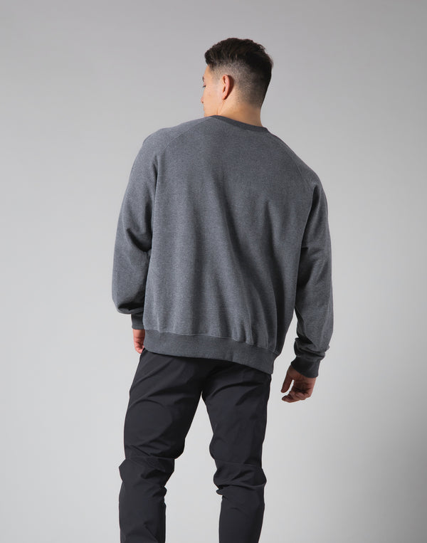 Script Logo 2Way Stretch Oversize Crewneck - Dark Grey