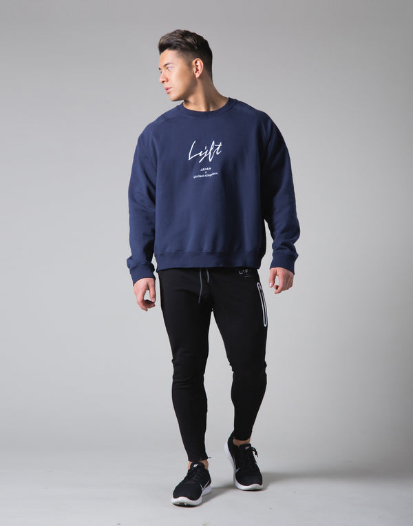 Script Logo 2Way Stretch Oversize Crewneck - Navy