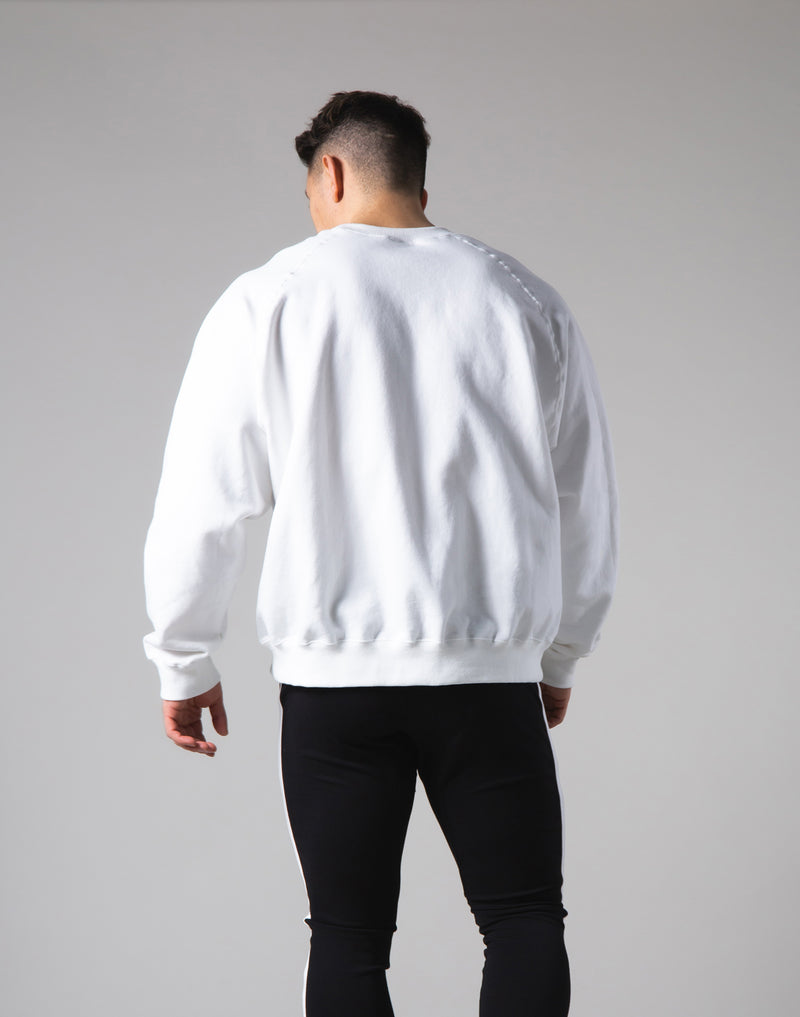 Script Logo 2Way Stretch Oversize Crewneck - White