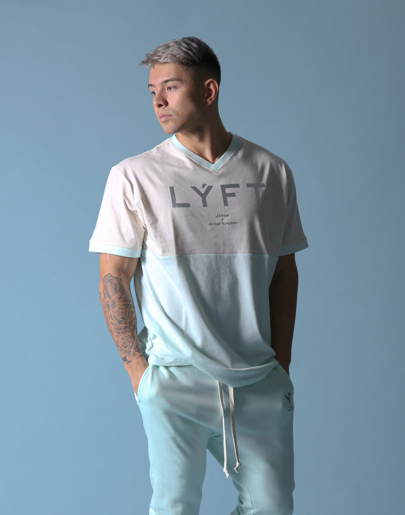 BORN TO LÝFT V Neck Big T-SHIRT - Mint Green