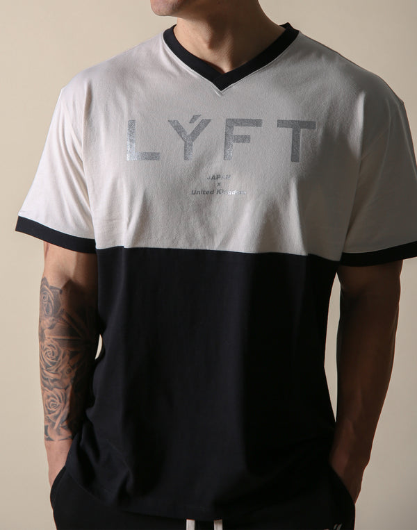 BORN TO LÝFT V Neck Big T-SHIRT - Black