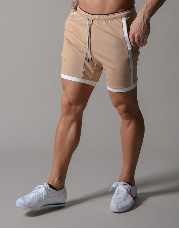One Line Half Pants 2 - Beige / White