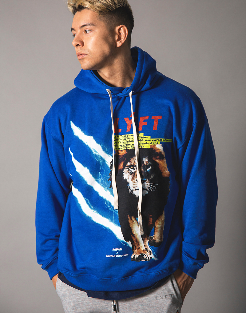 LÝFT Graphic Printed LION Pullover - Blue