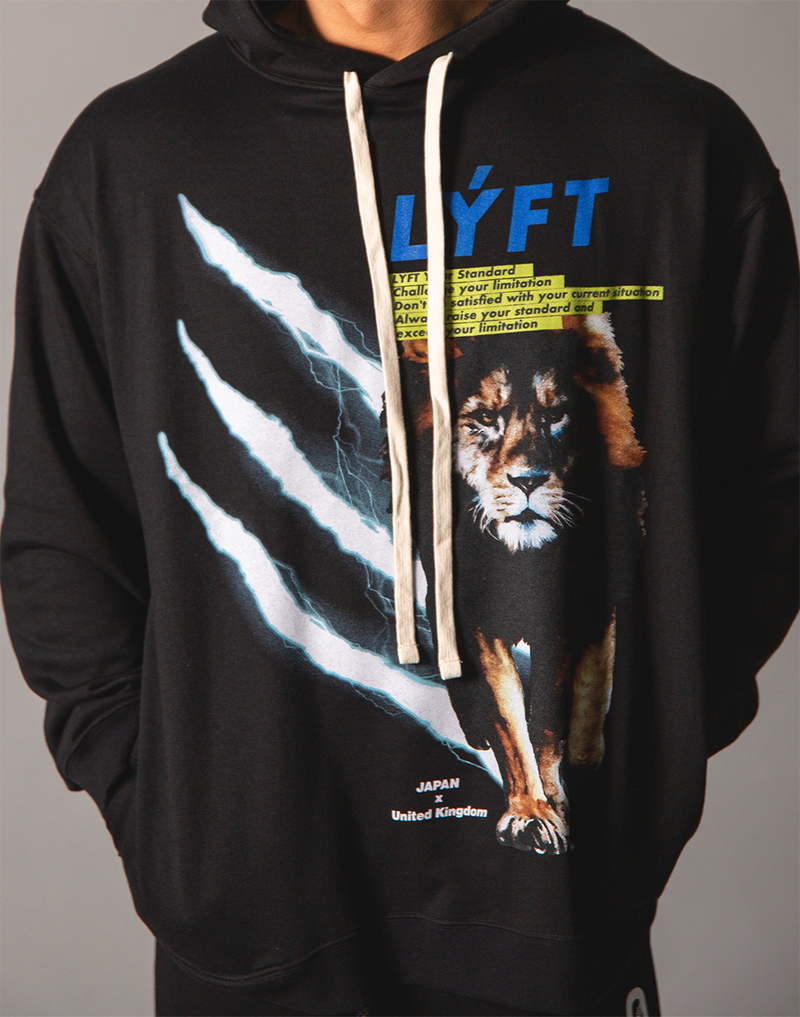 LÝFT Graphic Printed LION Pullover - Black