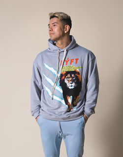 LÝFT Graphic Printed LION Pullover - Grey