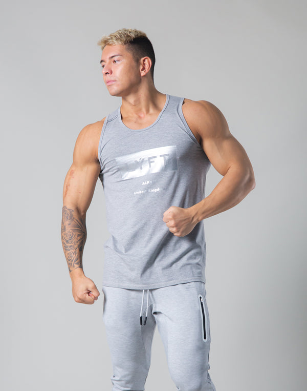 LÝFT Box Logo Standard Fit Stretch Tanktop - Grey