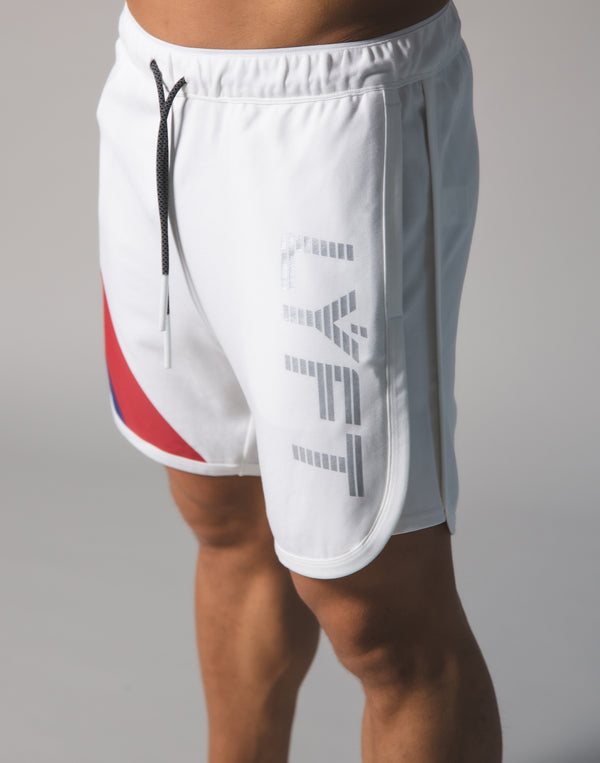 LÝFT Wide Stripe Shorts - White