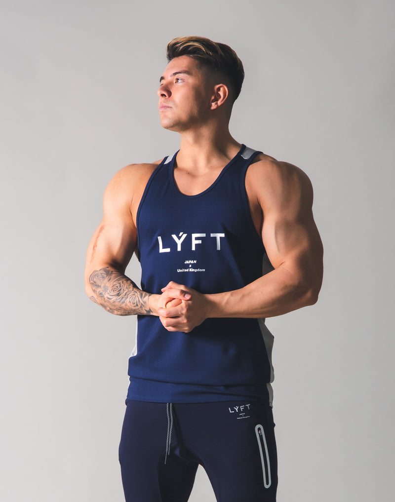Stretch and Mesh Standard Fit Tanktop - Navy