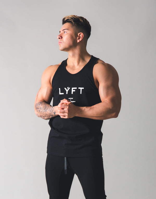 Stretch and Mesh Standard Fit Tanktop - Black