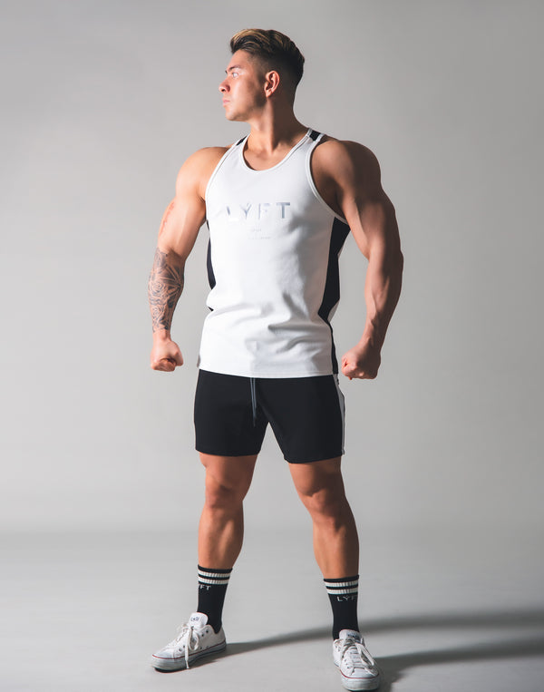 Stretch and Mesh Standard Fit Tanktop - White
