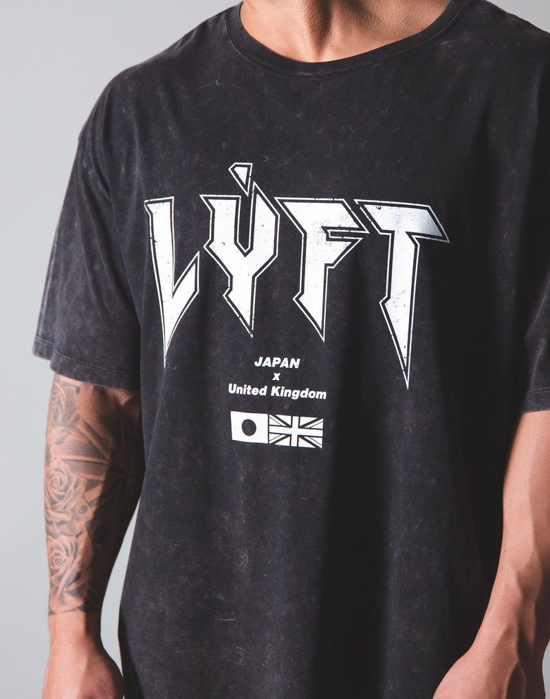 LÝFT London Punk Logo Vintage Big T-shirt - Black
