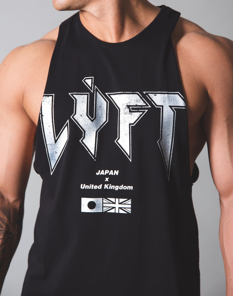 LÝFT London Punk Logo Drop Shoulder Tanktop - Black