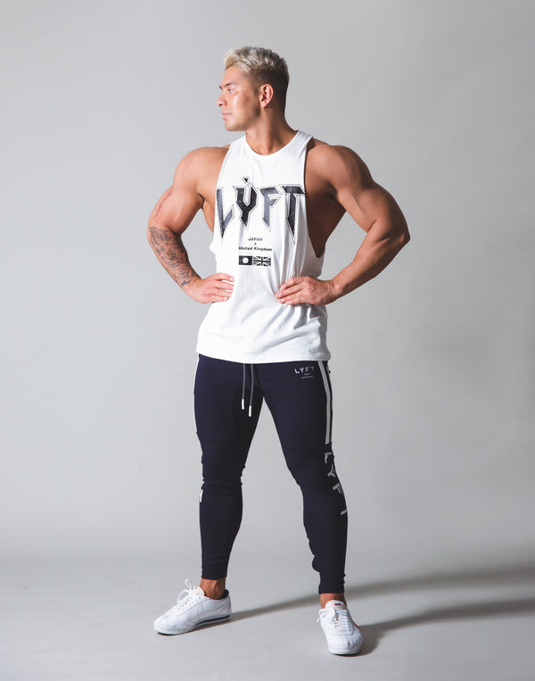 LÝFT London Punk Logo Drop Shoulder Tanktop - White