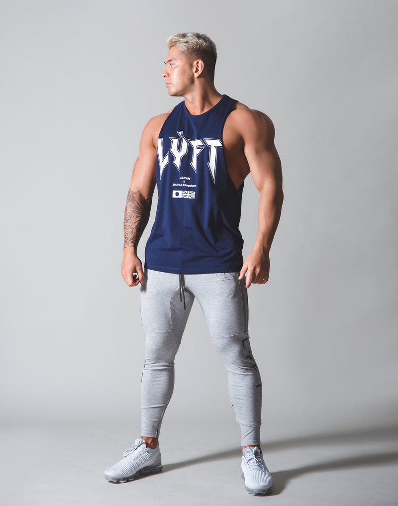 LÝFT London Punk Logo Drop Shoulder Tanktop - Navy