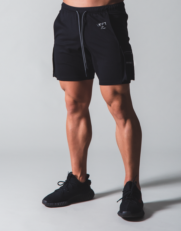 LÝFT Stretch Side Cargo Pocket Shorts - Black
