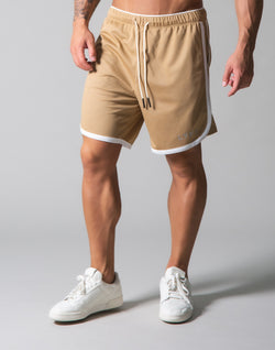 Wide Mesh Shorts - Beige