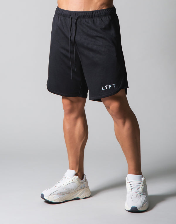 Wide Mesh Shorts - Black