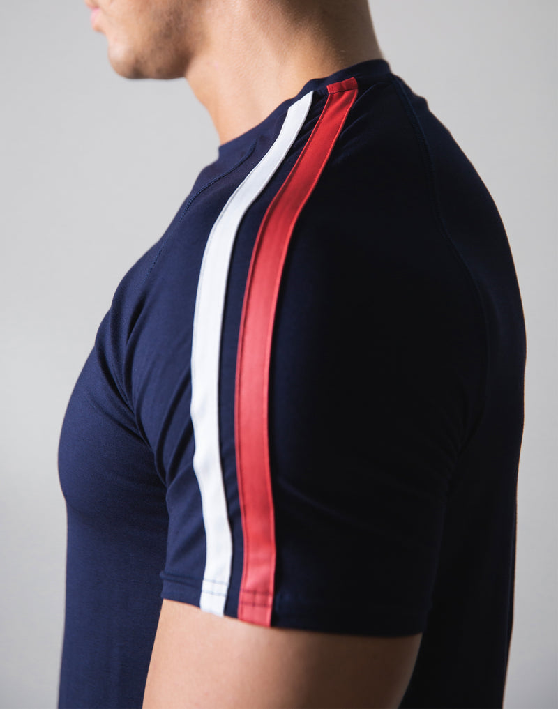 Slim Fit 2 Line T-Shirt - Navy