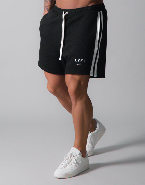 LÝFT 2 Line Sweat Shorts - Black