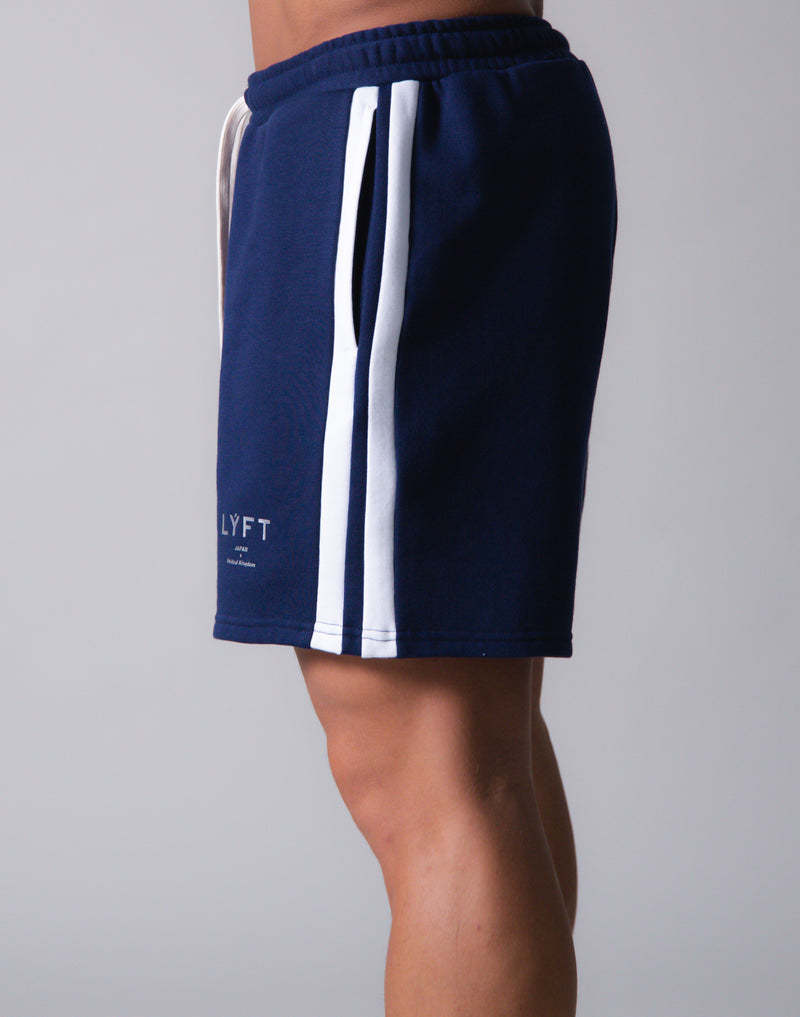 LÝFT 2 Line Sweat Shorts - Navy