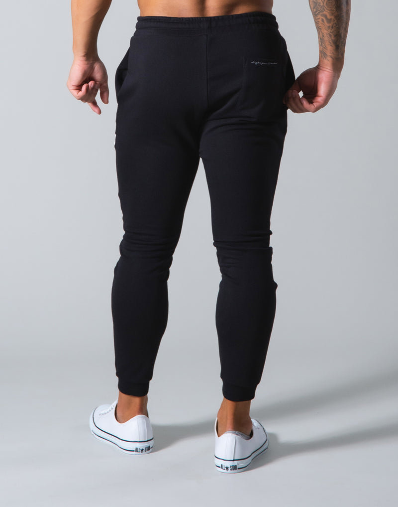 Angle Wide Line Sweat Pants - Black