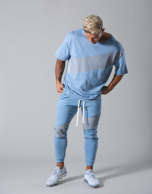 Angle Wide Line Big T-shirts - L.Blue